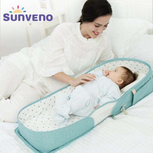 SUNVENO Portable Baby Crib Travel Folding Baby Bed Bag Infant Toddler Cradle Multifunction Storage Bag For