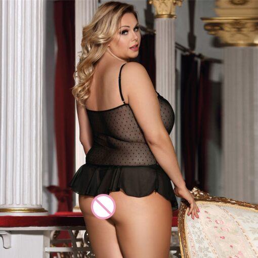 Sexy Plus Size Women Embroidery Lace Sexy Lingerie Underwear Pajamas Sleepwear Female Sleepwears Lace Nightdress Clothing 1