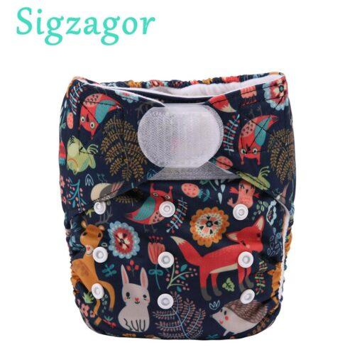 Sigzagor 1 Baby Pocket Cloth Diaper Nappy Hook Loop Wide Waist Stripe Tabs