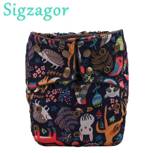 Sigzagor 1 Bamboo Charcoal Baby Cloth Diaper Nappy Washable Reusable Double Gusset Square Tabs 3kg