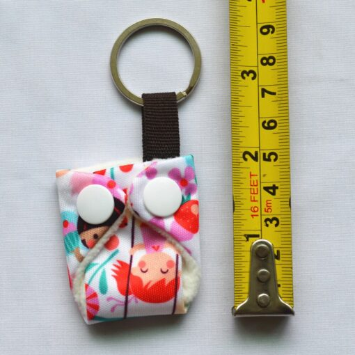 Sigzagor 1 Cute Mini Tiny Cloth Diaper Keychain Key Chain Adorable Snap Baby Shower Gift 1