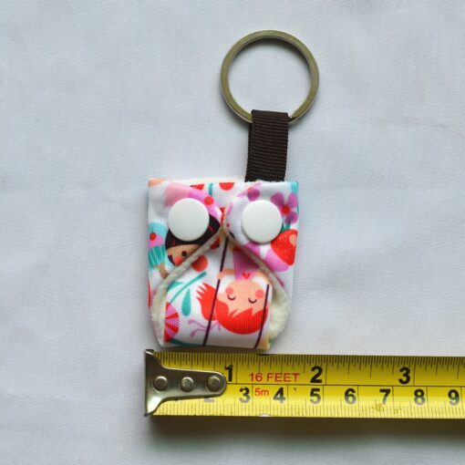 Sigzagor 1 Cute Mini Tiny Cloth Diaper Keychain Key Chain Adorable Snap Baby Shower Gift 2