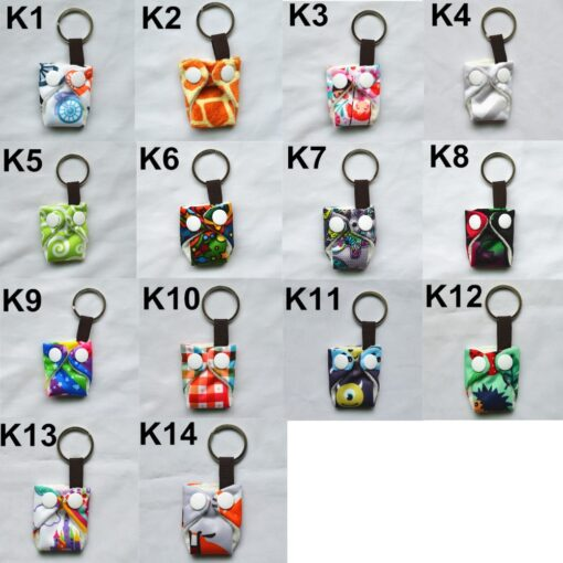 Sigzagor 1 Cute Mini Tiny Cloth Diaper Keychain Key Chain Adorable Snap Baby Shower Gift