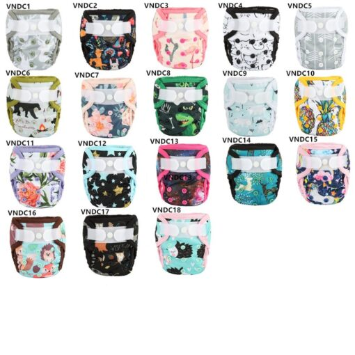 Sigzagor 1 Newborn Baby Hook and Loop Cloth Diaper Cover Nappy Double Gusset 4 4 5
