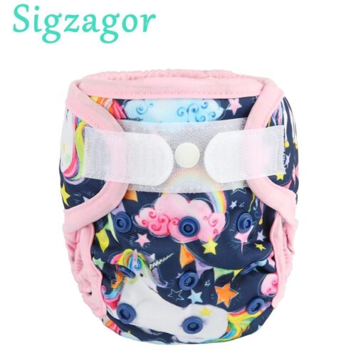 Sigzagor 1 Newborn Baby Hook and Loop Cloth Diaper Cover Nappy Double Gusset 4 4
