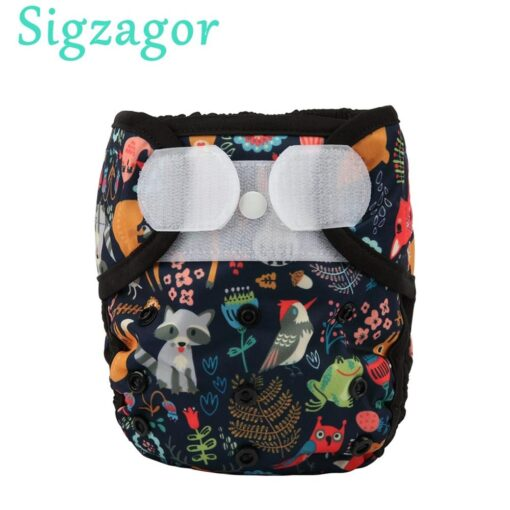 Sigzagor 1 OS One Size Baby Cloth Diaper Cover Nappy Hook and Loop Double Gusset
