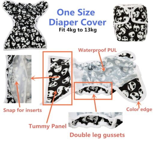 Sigzagor 1 OS One Size Baby Cloth Diaper Cover Nappy Waterproof Double Gusset 4 13kg 4