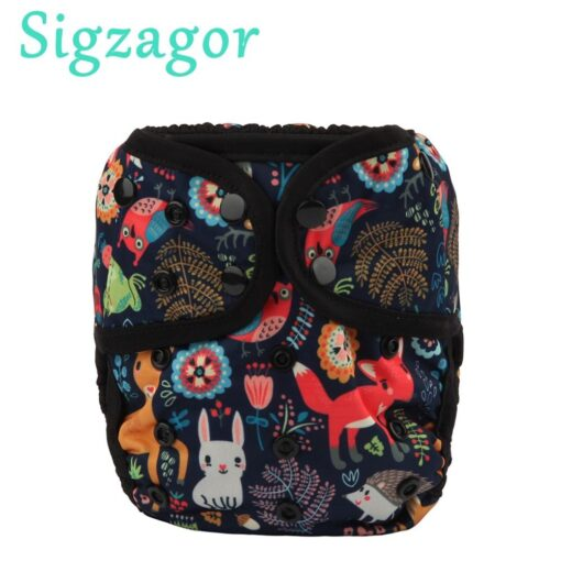 Sigzagor 1 OS One Size Baby Cloth Diaper Cover Nappy Waterproof Double Gusset 4 13kg