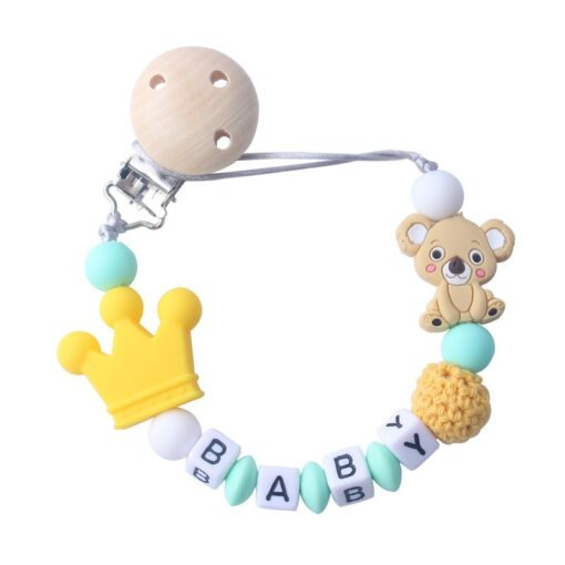Silicone Koala Beads Pacifier Clip Colorful Pacifier Chain safe for Baby Teething Soother Chew Toy Dummy 1