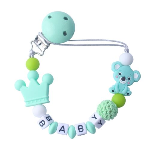 Silicone Koala Beads Pacifier Clip Colorful Pacifier Chain safe for Baby Teething Soother Chew Toy Dummy 2
