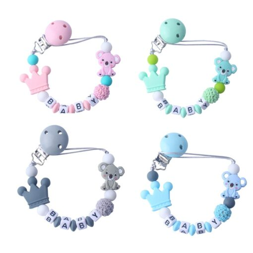 Silicone Koala Beads Pacifier Clip Colorful Pacifier Chain safe for Baby Teething Soother Chew Toy Dummy 4
