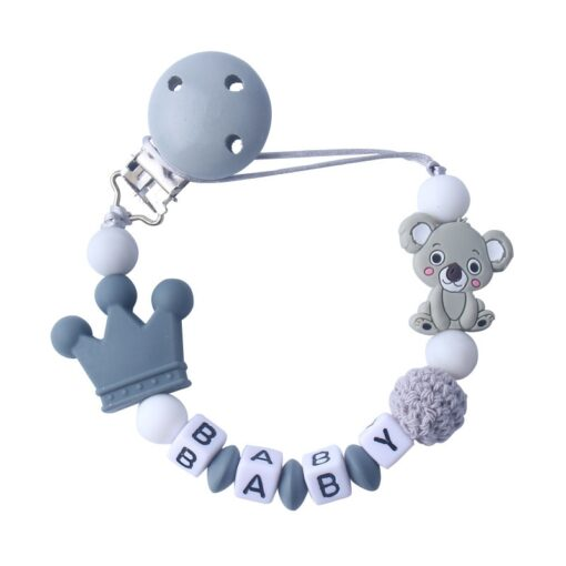 Silicone Koala Beads Pacifier Clip Colorful Pacifier Chain safe for Baby Teething Soother Chew Toy Dummy