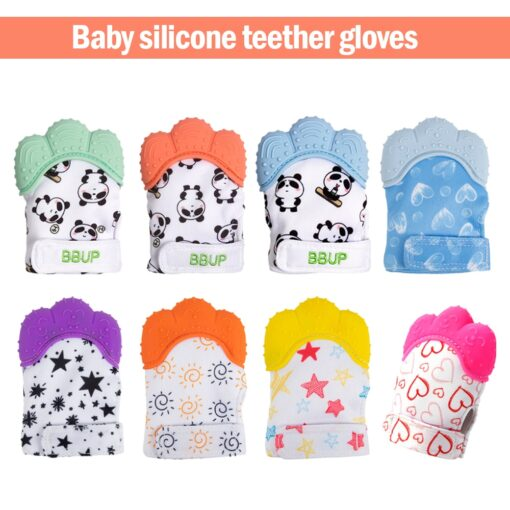 Silicone Teether 1pc Animal Dolphin Teething Glove Panda Wrapper Sound Teething Chewable beads Newborn Toddler Food 1