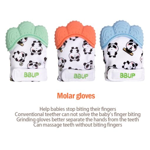 Silicone Teether 1pc Animal Dolphin Teething Glove Panda Wrapper Sound Teething Chewable beads Newborn Toddler Food 2