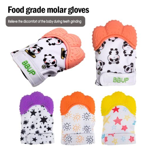 Silicone Teether 1pc Animal Dolphin Teething Glove Panda Wrapper Sound Teething Chewable beads Newborn Toddler Food
