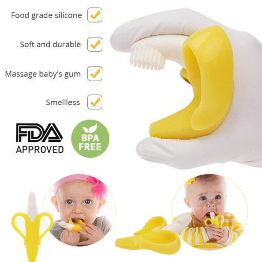 Silicone Teether Baby Teething Toys Banana Teether Infant Oral Care Toothbrush Chewing Toy Fruit Teethers High 2