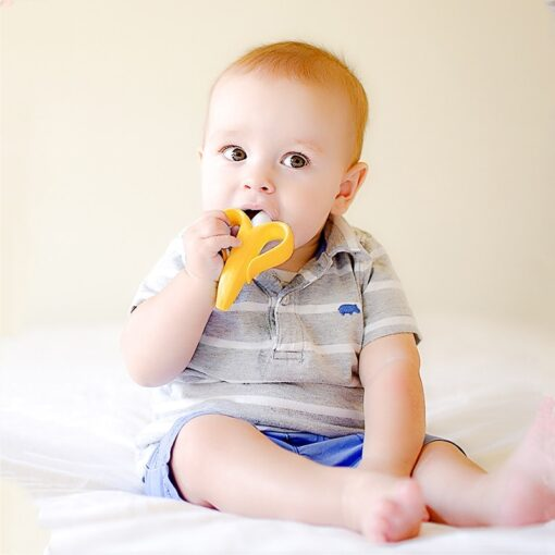 Silicone Teether Baby Teething Toys Banana Teether Infant Oral Care Toothbrush Chewing Toy Fruit Teethers High 5