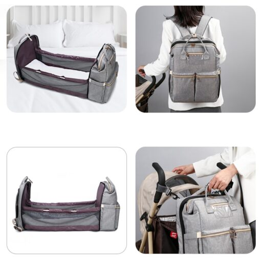 Small Mummy Maternity Baby Diaper Bag Backpack For Moms Gray Fashion Nappy Changing Bag Stroller Organizer 5