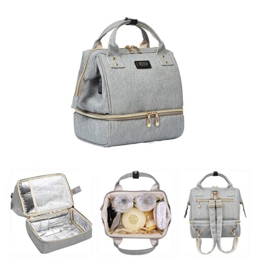 Small Mummy Maternity Baby Diaper Bag Backpack For Moms Gray Fashion Nappy Changing Bag Stroller Organizer