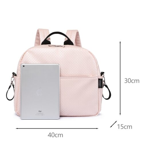 Soboba Diaper Backpack Bag for Mother Plaid Large Capacity Waterproof Pink Maternity Bag for Baby Care 1