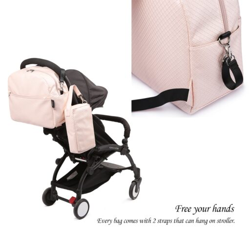 Soboba Diaper Backpack Bag for Mother Plaid Large Capacity Waterproof Pink Maternity Bag for Baby Care 3