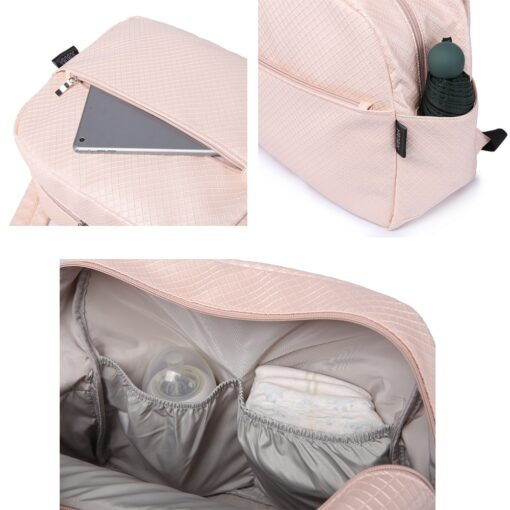 Soboba Diaper Backpack Bag for Mother Plaid Large Capacity Waterproof Pink Maternity Bag for Baby Care 4