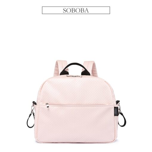 Soboba Diaper Backpack Bag for Mother Plaid Large Capacity Waterproof Pink Maternity Bag for Baby Care 5