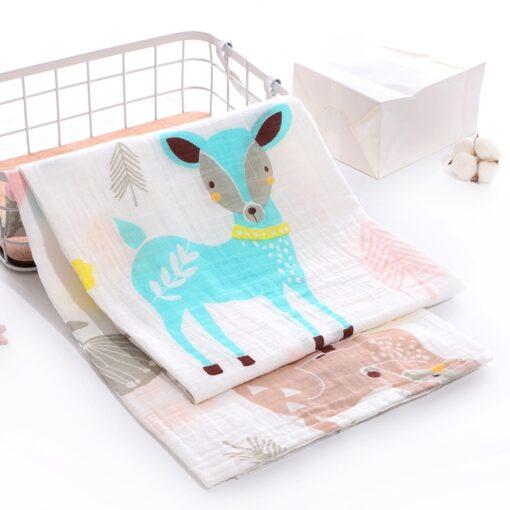Soft 100 Cotton Muslin Baby Blanket Cartoon Animal Newborn Blankets Bath Gauze Towl Infant Muslin Swaddle 1