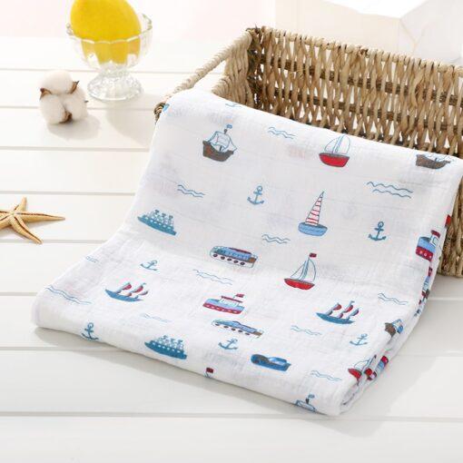 Soft 100 Cotton Muslin Baby Blanket Cartoon Animal Newborn Blankets Bath Gauze Towl Infant Muslin Swaddle 3