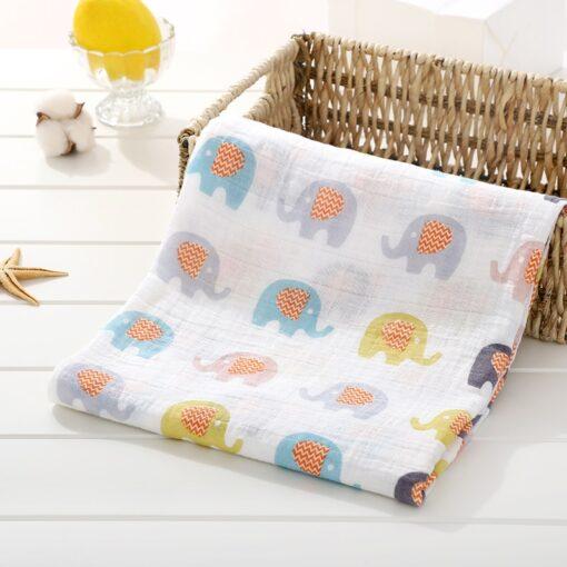Soft 100 Cotton Muslin Baby Blanket Cartoon Animal Newborn Blankets Bath Gauze Towl Infant Muslin Swaddle 4