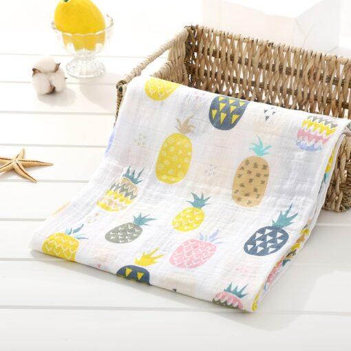 Soft 100 Cotton Muslin Baby Blanket Cartoon Animal Newborn Blankets Bath Gauze Towl Infant Muslin Swaddle 5