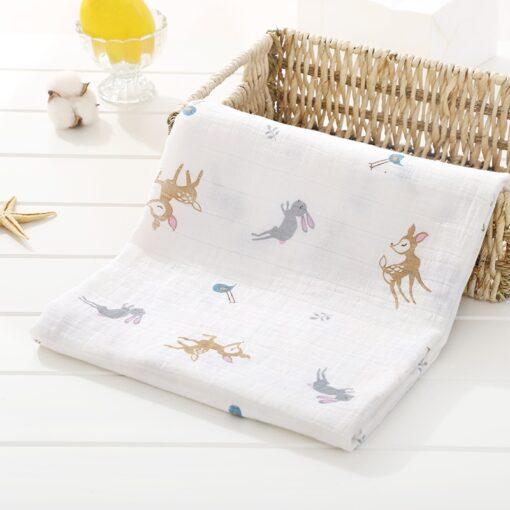 Soft Muslin 100 Cotton Baby Blanket Cute Cartoon Newborn Blankets Bath Gauze Infant Wrap Sleepsack Stroller 6