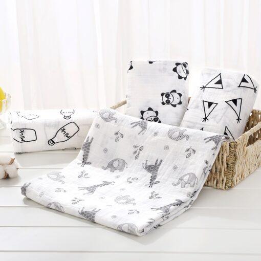 Soft Muslin 100 Cotton Baby Blanket Cute Cartoon Newborn Blankets Bath Gauze Infant Wrap Sleepsack Stroller 7