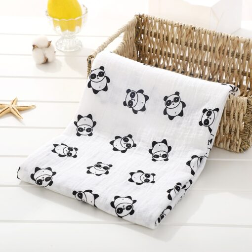 Soft Muslin 100 Cotton Baby Blanket Cute Cartoon Newborn Blankets Bath Gauze Infant Wrap Sleepsack Stroller 8