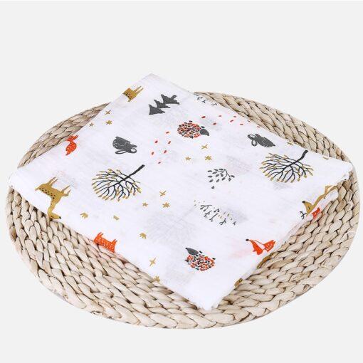Soft Muslin 100 Cotton Baby Swaddles Cute Cartoon Newborn Blankets Bath Gauze Infant Wrap sleepsack Stroller 1