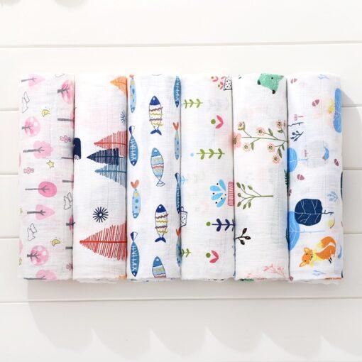 Soft Muslin 100 Cotton Baby Swaddles Cute Cartoon Newborn Blankets Bath Gauze Infant Wrap sleepsack Stroller