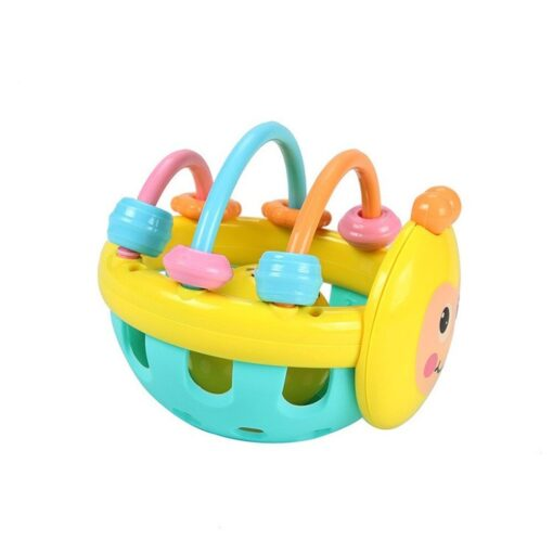 Soft Rubber Juguetes Bebe Cartoon Bee Hand Knocking Rattle Dumbbell Early Educational Toy For Kid Hand 1