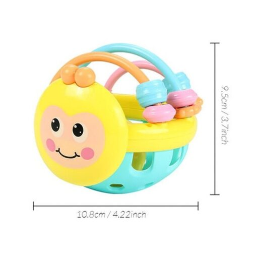 Soft Rubber Juguetes Bebe Cartoon Bee Hand Knocking Rattle Dumbbell Early Educational Toy For Kid Hand 3