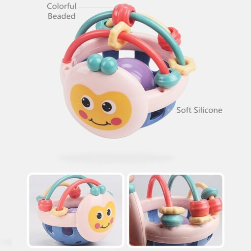 Soft Rubber Juguetes Bebe Cartoon Bee Hand Knocking Rattle Dumbbell Early Educational Toy For Kid Hand 4