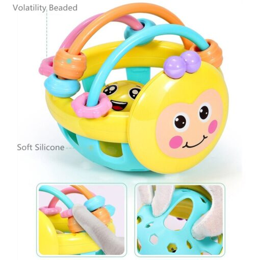 Soft Rubber Juguetes Bebe Cartoon Bee Hand Knocking Rattle Dumbbell Early Educational Toy For Kid Hand 5