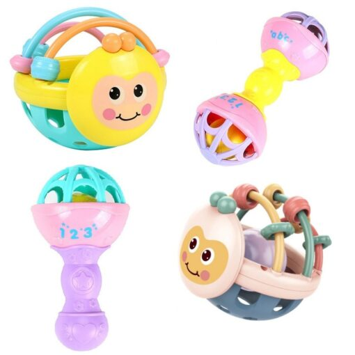 Soft Rubber Juguetes Bebe Cartoon Bee Hand Knocking Rattle Dumbbell Early Educational Toy For Kid Hand