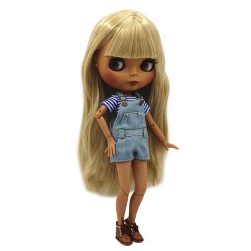 Special Price Blyth Joint body Nude Doll straight blond hair with without bangs new matte shell