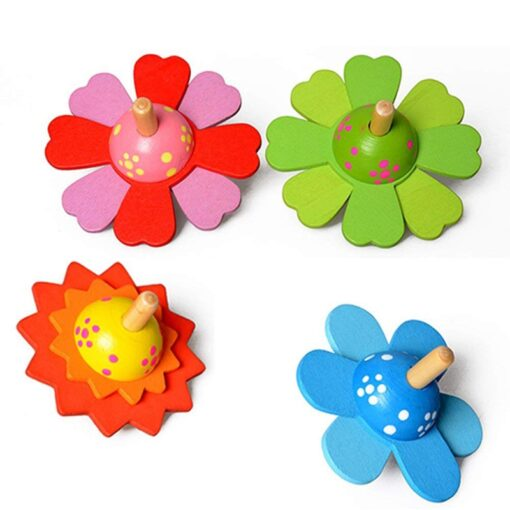 Spinning Top Children Classic Toys Flower Wooden Spinning Top Traditional Intelligence Development Educational Wooden Kid Toy 1