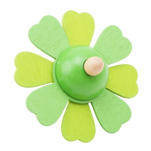 Spinning Top Children Classic Toys Flower Wooden Spinning Top Traditional Intelligence Development Educational Wooden Kid Toy 3