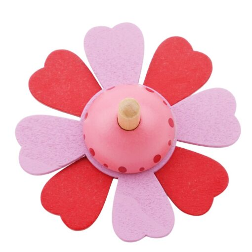 Spinning Top Children Classic Toys Flower Wooden Spinning Top Traditional Intelligence Development Educational Wooden Kid Toy 5