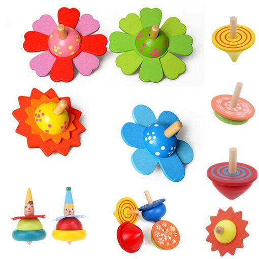 Spinning Top Children Classic Toys Flower Wooden Spinning Top Traditional Intelligence Development Educational Wooden Kid Toy