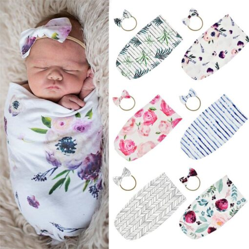 Stretch Baby Sleeping Bag Type Two piece Bow And Hair Band Cotton Sleeping Bag Swaddling Kid