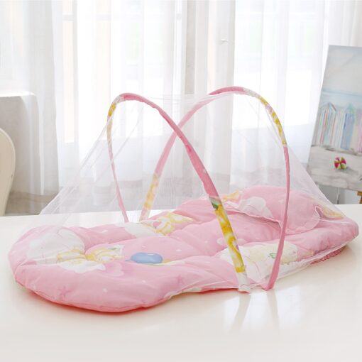 Summer Breathable Baby Netting Foldable Portable Lace Cotton material Net Yarn Newborn Moving Bed Super Lightweight 2