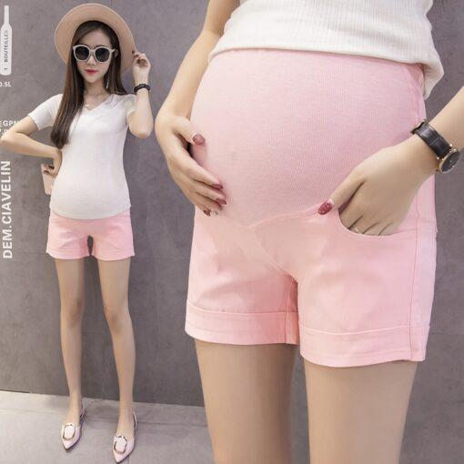 Summer Cotton Maternity Belly Short Pants Pregnant Women Shorts Pregnancy Short Trousers Adjustable Belly Clothes Korean 1