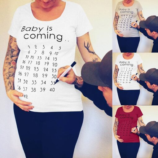Summer Women Pregnancy Clothes Baby Is Coming Printed Maternity Short T Shirt Solid Top for Photography 1